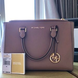Michael Kors Kellen Fawn Leather Satchel